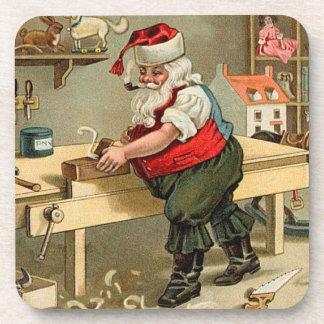 Vintage Santa Claus Christmas Workshop Coasters