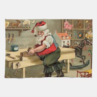 Vintage Santa Claus Christmas Workshop Hand Towels