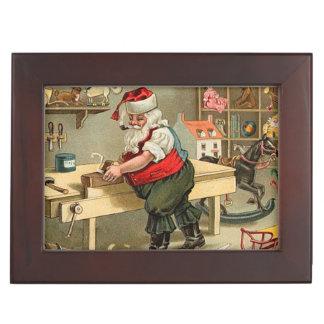 Vintage Santa Claus Christmas Workshop Keepsake Box