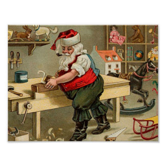 Vintage Santa Claus Christmas Workshop Poster
