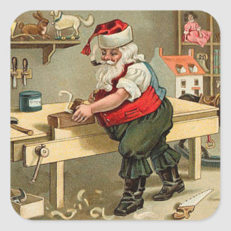 Vintage Santa Claus Christmas Workshop Square Sticker