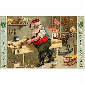 Vintage Santa Claus Christmas Workshop Standing Photo Sculpture