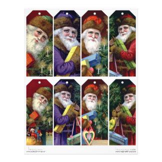 Vintage Santa Claus DIY Christmas Gift Tags Letterhead Template