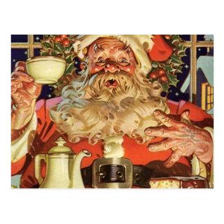 Vintage Santa Claus Drinking Tea Postcard