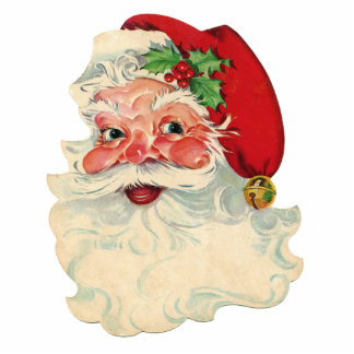 Vintage Santa Claus Face Cut Out Merry Christmas!