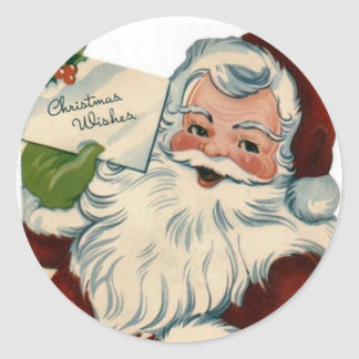Vintage Santa Claus Face Gifts Round Sticker