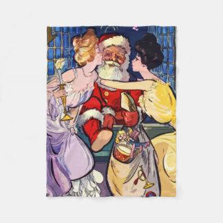 Vintage Santa Claus Fleece Blanket