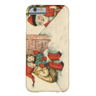 Vintage Santa Claus greets children by chimney Barely There iPhone 6 Case