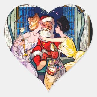 Vintage Santa Claus Heart Sticker