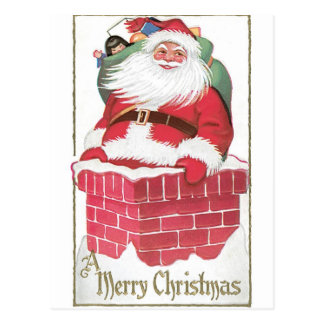 Vintage Santa Claus in Chimney Post Cards
