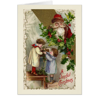 Vintage Santa Claus Joyful Christmas Card