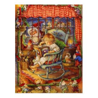 Vintage Santa Claus Looking In Postcard