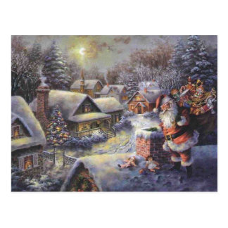 Vintage Santa Claus On The Roof Postcard