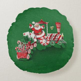 Vintage Santa Claus Peppermint Candy Train Round Pillow