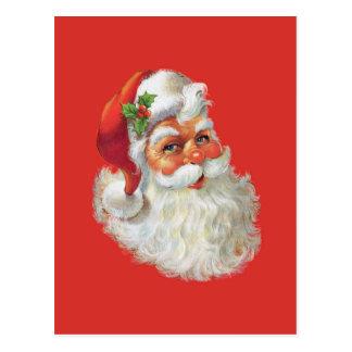 vintage santa claus portrait postcard