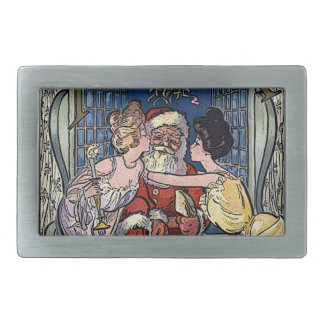 Vintage Santa Claus Rectangular Belt Buckle