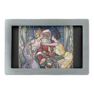 Vintage Santa Claus Rectangular Belt Buckles