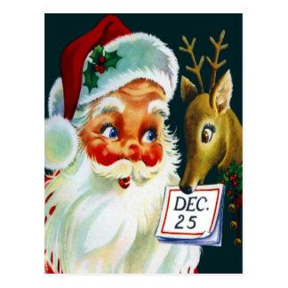 Vintage Santa Claus & Reindeer Christmas Postcard
