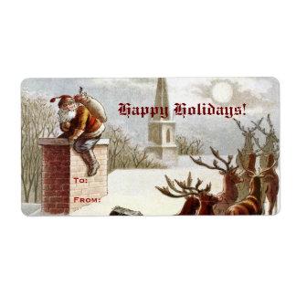 Vintage Santa Claus Reindeer Sleigh gift tag label