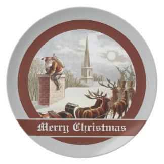 Vintage Santa Claus Reindeer Sleigh plate