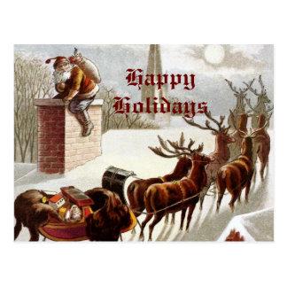 Vintage Santa Claus Reindeer Sleigh postcard