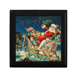 Vintage Santa Claus Sleigh Christmas Holiday Gift Boxes