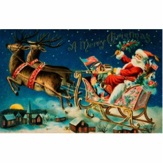 Vintage Santa Claus Sleigh Christmas Holiday Photo Sculpture Magnet
