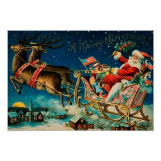 Vintage Santa Claus Sleigh Christmas Holiday Poster