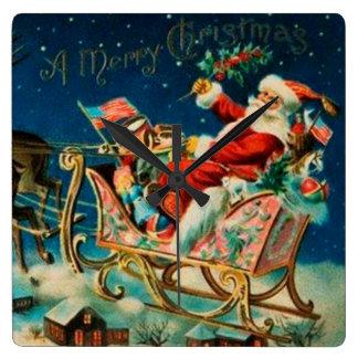 Vintage Santa Claus Sleigh Christmas Holiday Wall Clocks