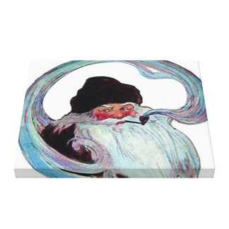 Vintage Santa Claus Smoking a Pipe Stretched Canvas Print