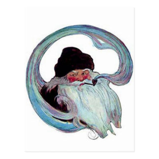 Vintage Santa Claus Smoking a Pipe Postcard