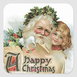 Vintage Santa Claus Square Sticker