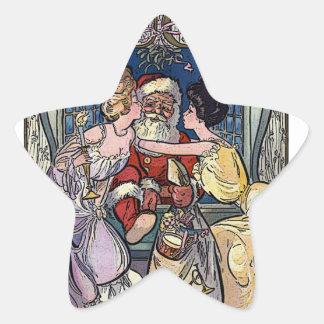 Vintage Santa Claus Star Sticker