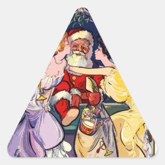 Vintage Santa Claus Triangle Sticker