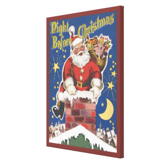 Vintage Santa Claus, Twas Night Before Christmas Stretched Canvas Print