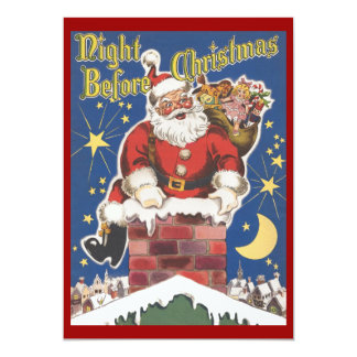 "Vintage Santa Claus, Twas Night Before Christmas 5"" X 7"" Invitation Card"