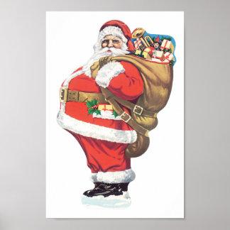 Vintage Santa Claus, Victorian Christmas die cut Poster