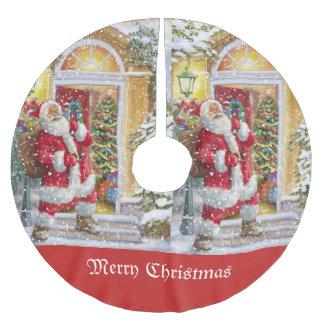 Vintage Santa Claus visiting family Brushed Polyester Tree Skirt