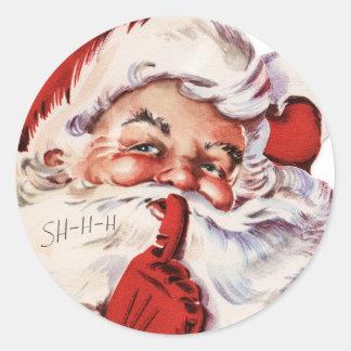 Vintage Santa Claus Whispering Round Sticker
