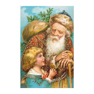 Vintage Santa Claus with Boy Gallery Wrapped Canvas