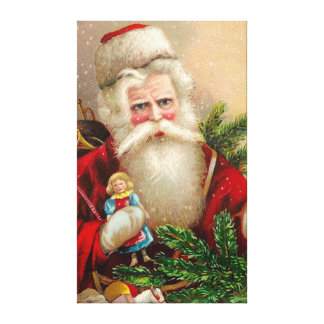 Vintage Santa Claus with Doll Gallery Wrapped Canvas