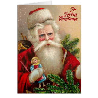 Vintage Santa Claus with Doll Card