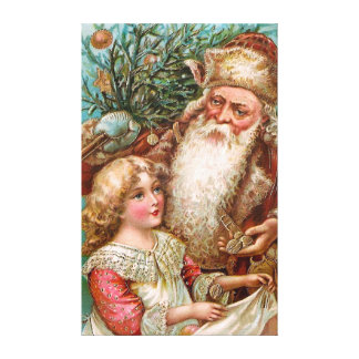 Vintage Santa Claus with nice Girl Stretched Canvas Prints