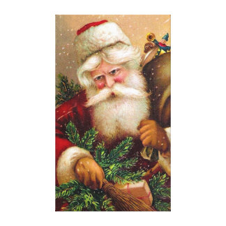 Vintage Santa Claus with Sack full of Toys Canvas Print