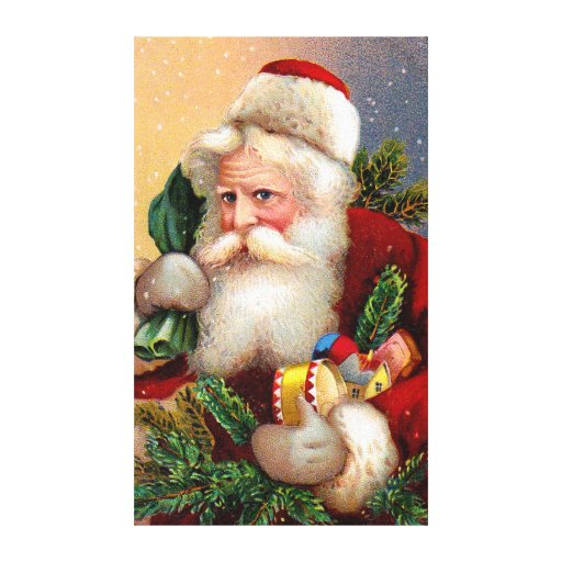 Vintage Santa Claus with Toys and Fir Twigs Canvas Prints