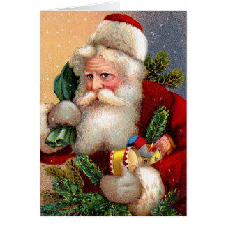 Vintage Santa Claus with Toys and Fir Twigs Card