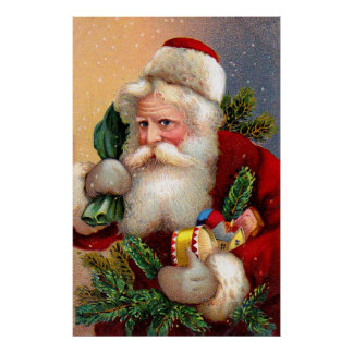 Vintage Santa Claus with Toys and Fir Twigs Poster
