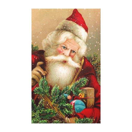 Vintage Santa Claus with Toys Canvas Prints