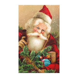 Vintage Santa Claus with Toys Canvas Print