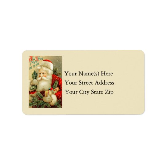 Vintage Santa Claus With Toys Label